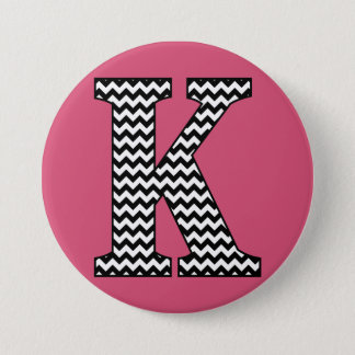 "Black and White Chevron ""K"" Monogram 7.5 Cm Round Badge"