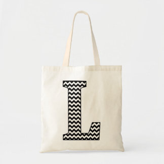"Black and White Chevron ""L"" Monogram Tote Bag. Budget Tote Bag"