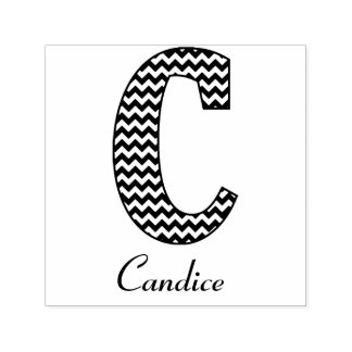 Black and White Chevron Letter C Monogram and Name Self-inking Stamp