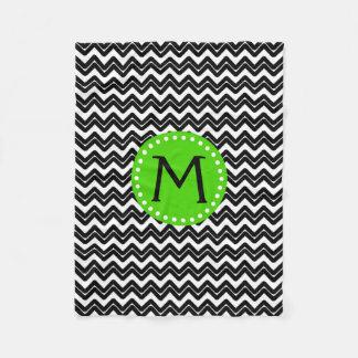 Black and White Chevron Monogram Fleece Blanket
