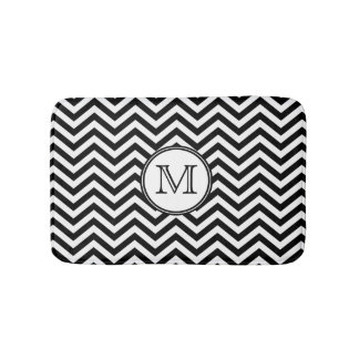 Black and White Chevron Monogrammed Bath Mat