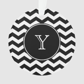 Black and White Chevron Monogrammed Ornament