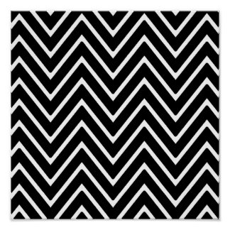 Black and White Chevron Pattern 2 Poster