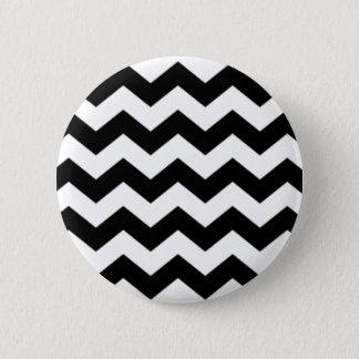 Black and White Chevron Pattern 6 Cm Round Badge