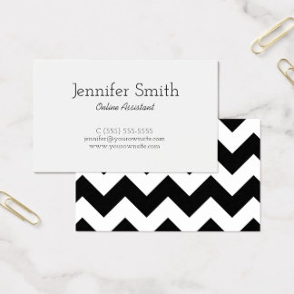 Black and White Chevron Pattern Business Card