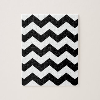 Black and White Chevron Pattern Jigsaw Puzzle