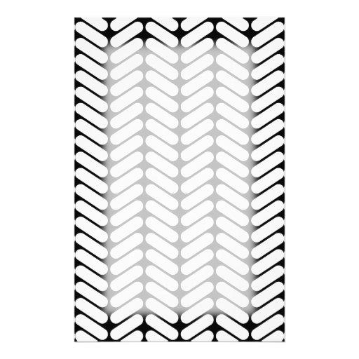 Black and White Chevron Pattern, Like Knitting. Stationery Paper