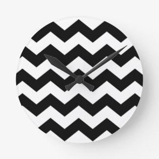 Black and White Chevron Pattern Round Clock