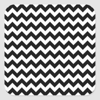 Black and white chevron pattern square sticker