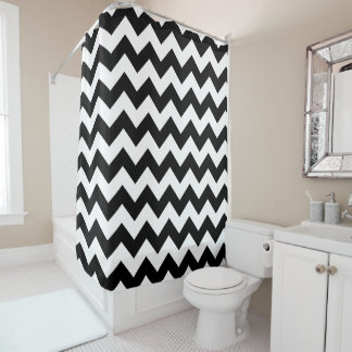 Shower Curtains Zazzlecomau - Black and white chevron shower curtain