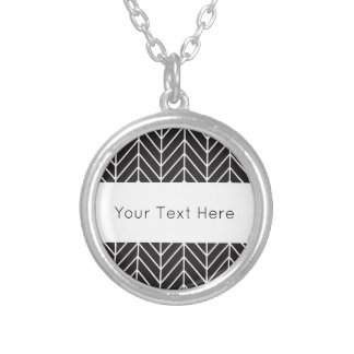 Black and White Chevron Silver Plated Necklace