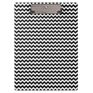 Black and White Chevron Stripe Clipboard