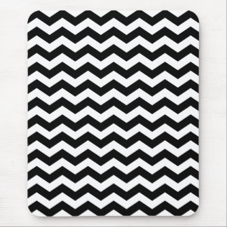 Black and White Chevron Stripes Mouse Pads
