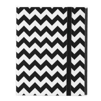 Black and White Chevron Traditional Pattern iPad Folio Case