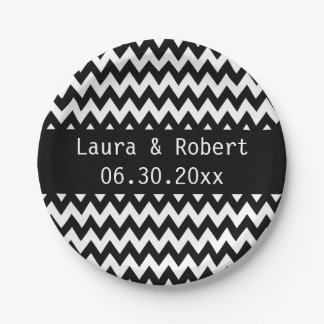 Black and White Chevron Wedding Plates 7 Inch Paper Plate