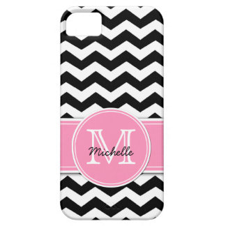 Black and White Chevron with Bubblegum Pink iPhone 5 Cover