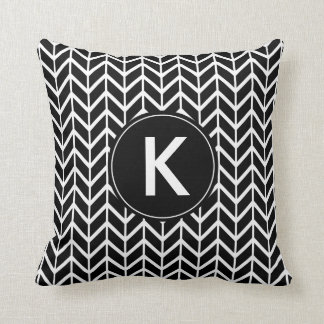 Black and White Chevron with Custom Monogram Cushion