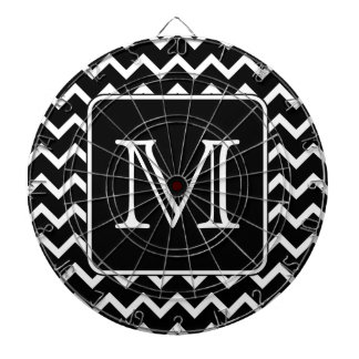 Black and White Chevron with Custom Monogram. Dart Boards