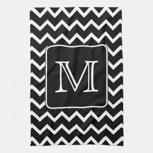 Black And White Chevron Hand Towels: Black And White Chevron With Custom Monogram.