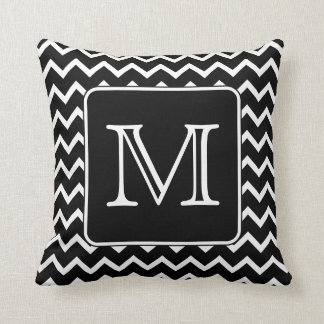 Black and White Chevron with Custom Monogram. Throw Pillow