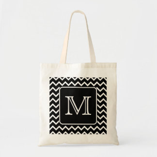 Black and White Chevron with Custom Monogram. Tote Bag