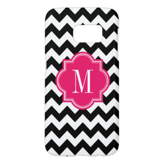Black and White Chevron with Hot Pink Monogram
