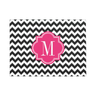 Black and White Chevron with Hot Pink Monogram Doormat