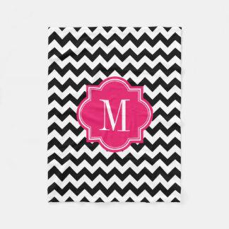 Black and White Chevron with Hot Pink Monogram Fleece Blanket