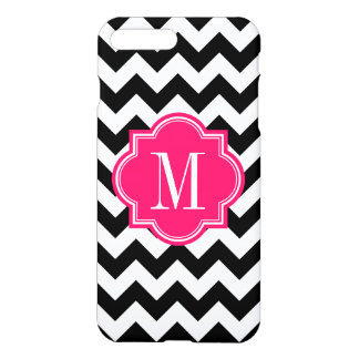 Black and White Chevron with Hot Pink Monogram iPhone 7 Plus Case