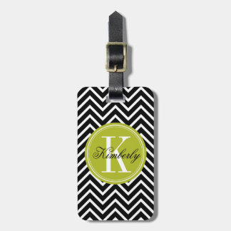 Black and White Chevron with Lime Green Monogram Luggage Tags