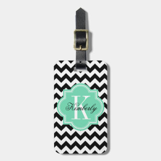 Black and White Chevron with Mint Monogram Luggage Tag