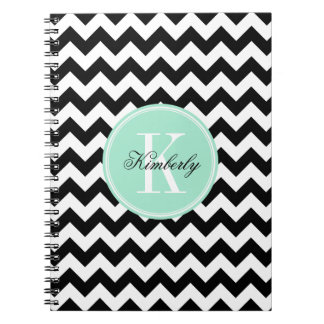 Black and White Chevron with Mint Monogram Spiral Note Book