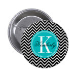 Black and White Chevron with Teal Monogram Badge