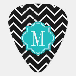 Black and White Chevron with Teal Monogram Guitar Pick