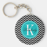 Black and White Chevron with Teal Monogram Keychains