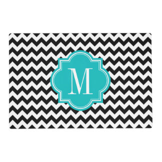 Black and White Chevron with Teal Monogram Laminated Place Mat