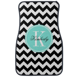 Black and White Chevron with Turquoise Monogram Car Mat