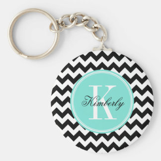Black and White Chevron with Turquoise Monogram Key Ring