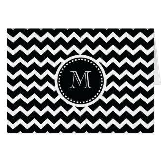 Black and White Chevron Zig Zag Retro Elegance Card