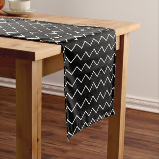 Black And White Chevron Zigzag Pattern Medium Table Runner