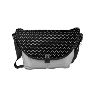 Black And White Chevron Zigzag Pattern Messenger Bags