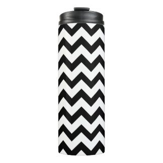Black And White Chevron Zigzag Pattern Thermal Tumbler