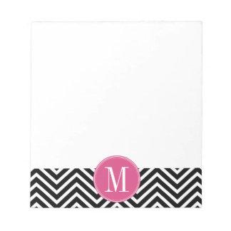 Black and White Chevrons Custom Pink Monogram Notepad