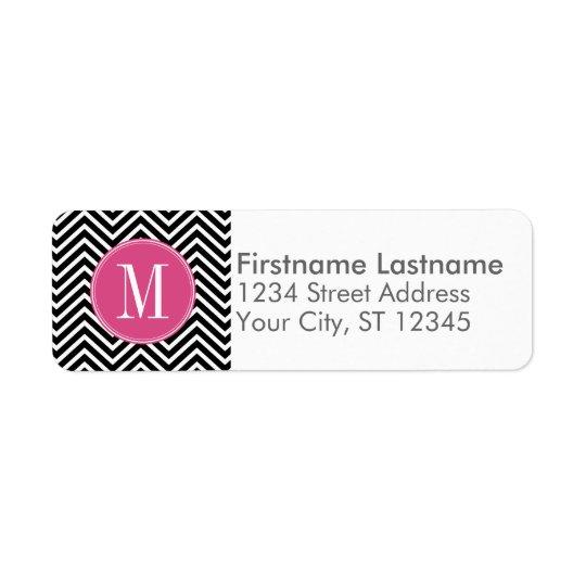Black and White Chevrons Custom Pink Monogram Return Address Label