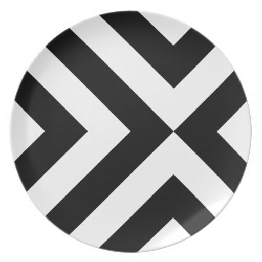 Black and White Chevrons Party Plate