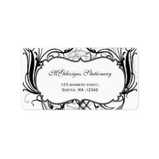 black and white Chic Business address labels