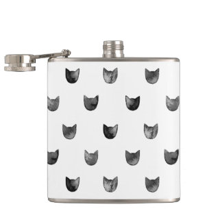 Black and White Chic Cute Cat Pattern Flasks