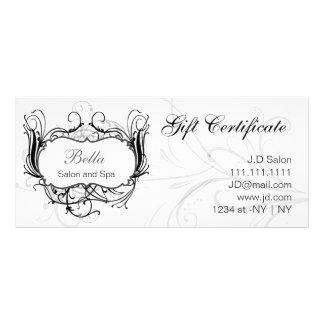 black and white Chic Gift Certificates Custom Rack Card