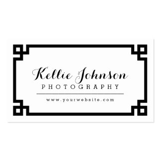 Black and White Chic Greek Key Border Pack Of Standard Business Cards