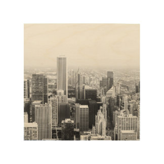 Black and White Chicago Illinois Wood Wall Art